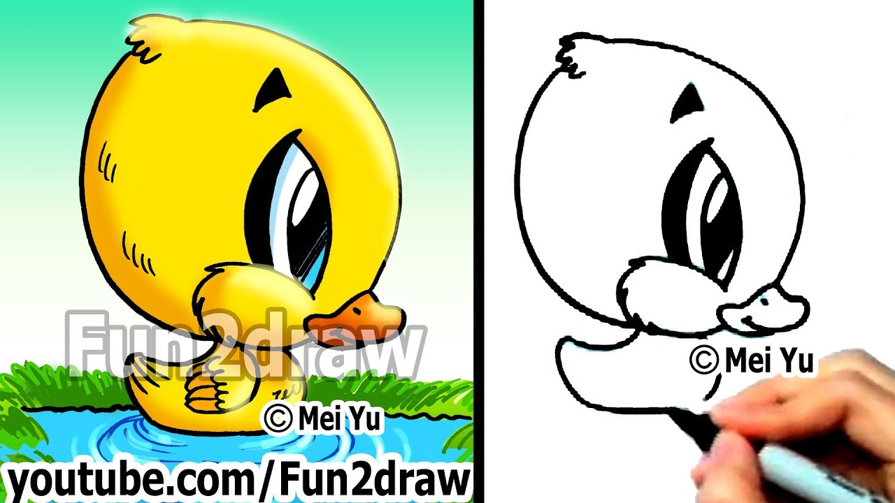 How to draw cartoons duckling in 2 min easy things to for What are fun things to draw