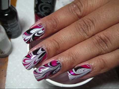 Black, White & Pink Water Marble Nail Art Tutorial