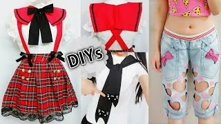 4 DIY Costumes&Clothes: DIY Anime School Uniform, Cat Sleeve-Tie Neck T-shirt,Square Sailor collar