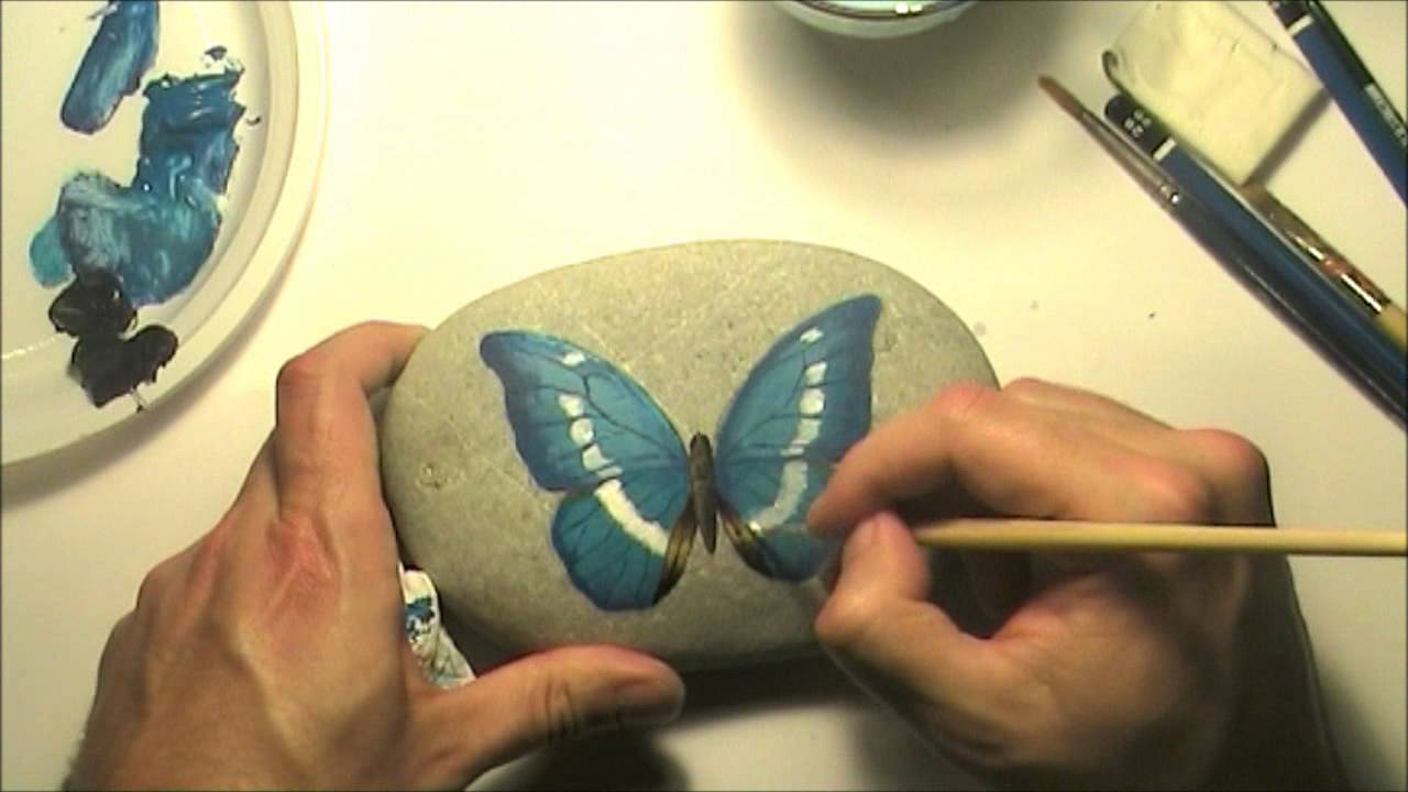How To Paint A Butterfly On A Sea Rock Speed Painting