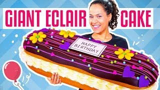 How To Make A GIANT Chocolate Eclair out of CAKE  Yolanda Gampp  How To Cake It