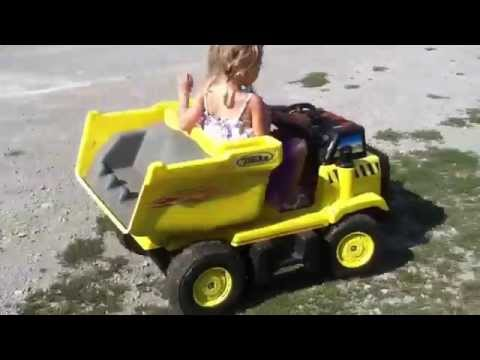 Modified Dump Truck Power Wheels - Rubber Traction On Rear Tires - Custom Power Wheels