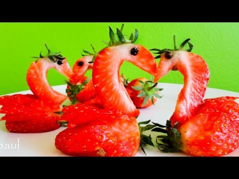 Art In Strawberry Swans -- Fruit Vegetable Carving Garnish