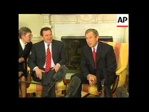 Bush & Schroeder in Oval office to