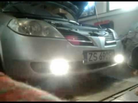 Montaż modułu do swiateł dziennych. Nissan primera P12.