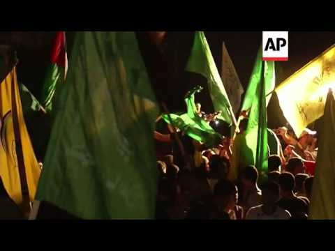 Gaza residents celebrated an open-ended ceasefire agreement between Hamas and Israel on Tuesday. Men