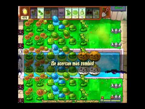 Plantas vs Zombies Supervivencia Piscina [dificil]