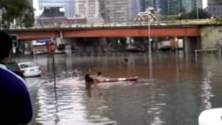 kayaking throught the streets of melbourne