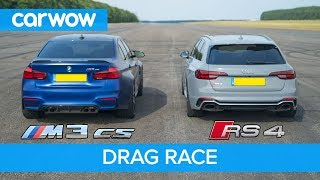 BMW M3 CS vs Audi RS4 - review & DRAG RACE, ROLLING RACE & BRAKE TEST