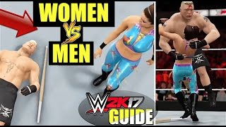 WWE 2K17 Tutorial - WOMEN vs MEN (GLITCH!) How To Do Intergender Matches In #WWE2K17