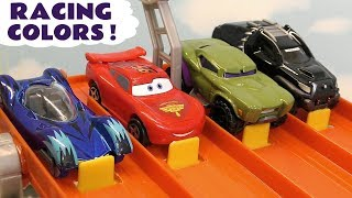 Learn Colors Race with Avengers 4 Hot Wheels Superheroes and Disney Pixar Cars 3 Lightning McQueen
