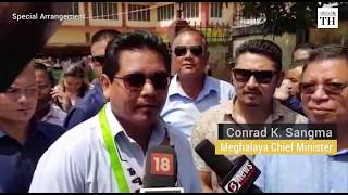 Conrad Sangma speaks after he wins the Tura bypoll