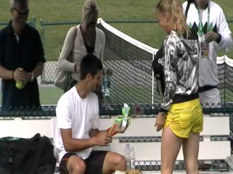 BNP Paribas Open 2011 - Caroline Wozniacki shows some love for Novak Djokovic before practice