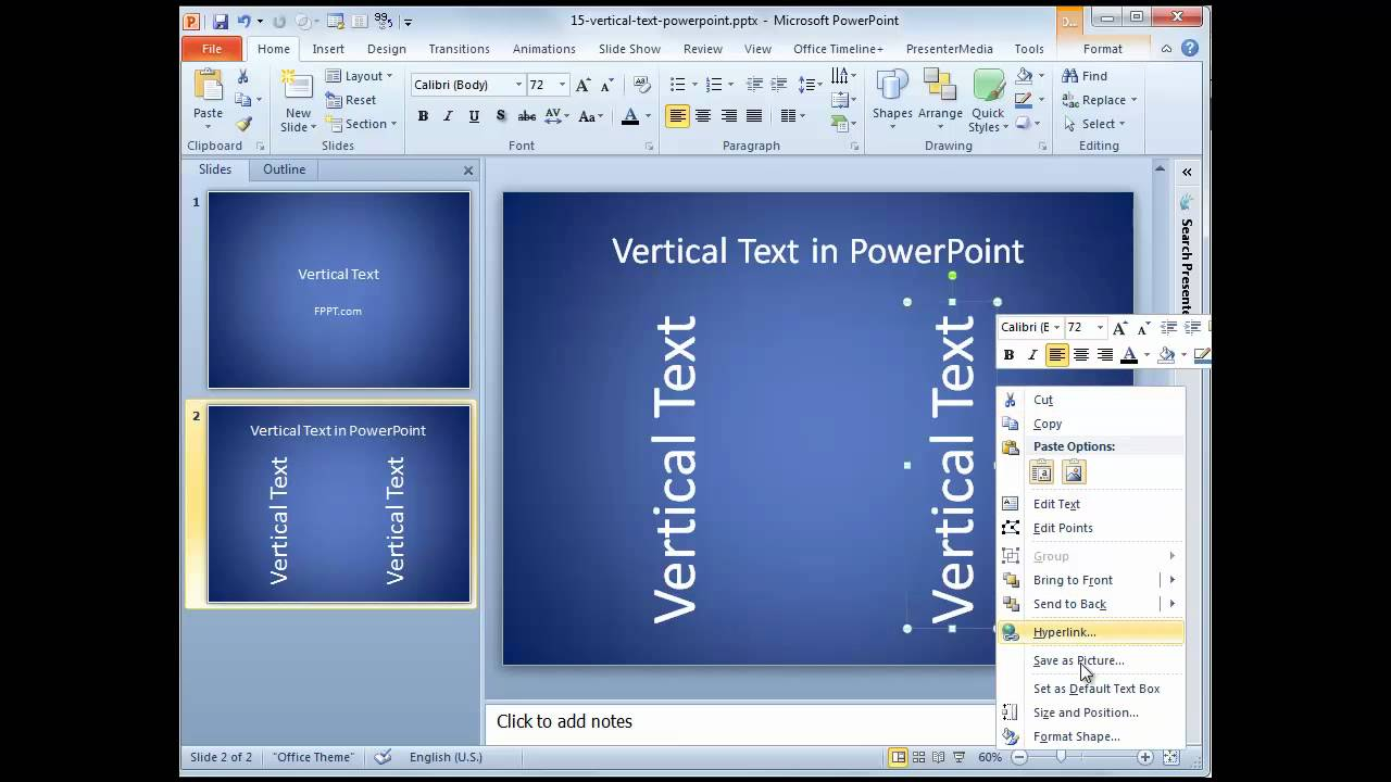 how to make text vertical in word 2016