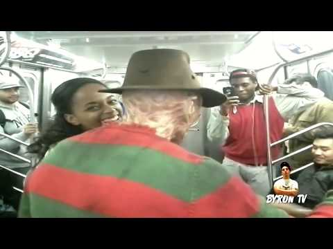 Freddy Krueger riding the New York City Subway