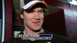 Chris Pronger interview plus stealing pucks