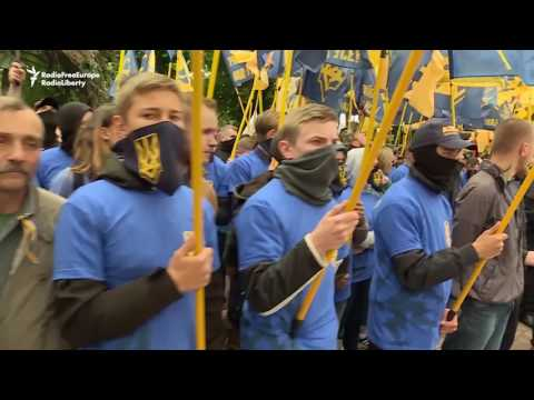 Far-Right Ukrainian Group Stages Smoky Protest In Kyiv