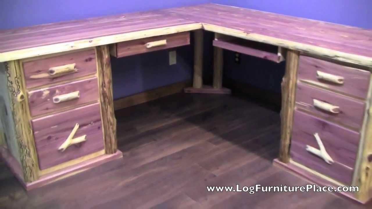 Red Cedar L Shaped Log Desk From Logfurnitureplace Com