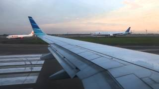 Garuda Indonesia beautiful weather takeoff from Soekarno Hatta Airport in Jakarta