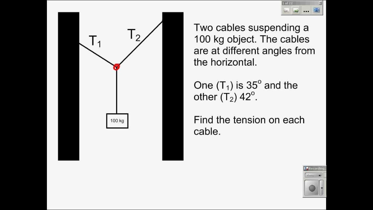 Static Equilibrium 2 Cables Different Angles Youtube