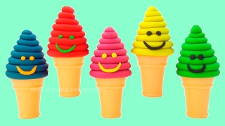 Play-Doh Ice Cream Blowing Bubbles Surprise YO GABBA GABBA Finger Family Nursery Rhymes Learn Colors
