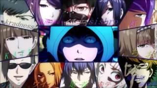 Tokyo Ghoul Characters singing Opening song season 1 (Unravel TK from Ling Tosite Sigure) 2016!!