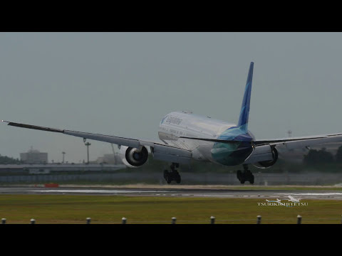【4K】CrossWind Landing Garuda Indonesia B777 〔3U3ER〕 PK-GIF Rwy16L @Narita