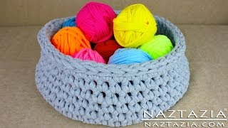 DIY Learn How to Make T-Shirt Yarn & Crochet a Basket (TShirt, T Shirt, Tarn, Trapillo, Zpagetti)