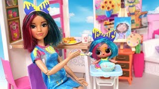 Barbie Doll LOL Splatters Family School Morning Routine - Barbie Classroom Toy