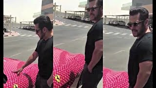 Salman Khan Checks Out Rashed Belhasa Ferrari