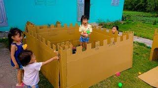 Cách làm tường thành cho bé chiến đấu ✬ làm nhà bìa carton ✬ cách xây dựng tường thành cát tông