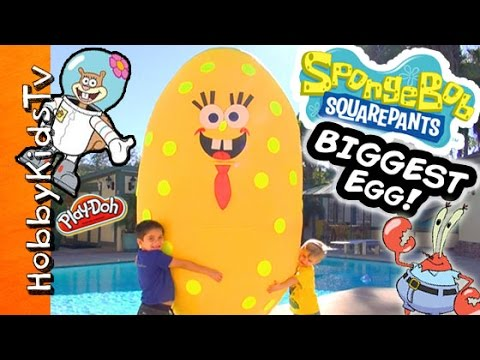 Worlds BIGGEST SPONGEBOB Surprise Egg! Toys + Play-Doh. Mega Blocks Invisible Car HobbyKidsTV