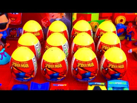 12 Spider-Man Surprise Eggs Marvel Heroes Easter Unboxing Superheroes Hot Toys from Spiderman Movie!