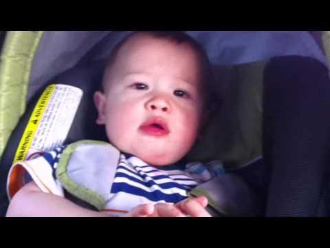 Эрик лижет свое детское автомобильное сиденье :)