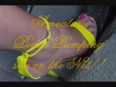 Miss Hot Rod pedal pumping reving dangling driving high heels