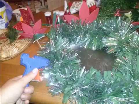Diy centro de mesa navide o reciclando youtube - Centros mesa navidenos ...
