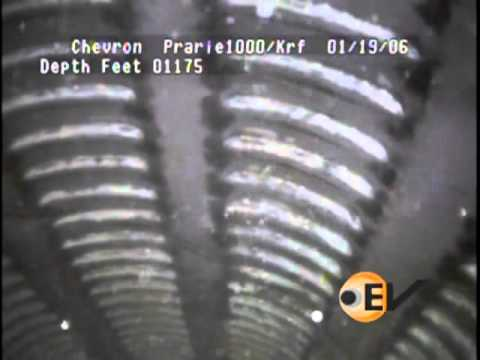 Downhole video run in slotted liner in a gas well