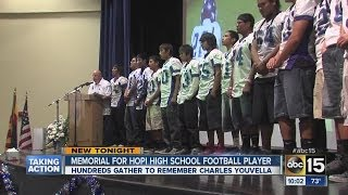 Hundred gather to remember high school football player