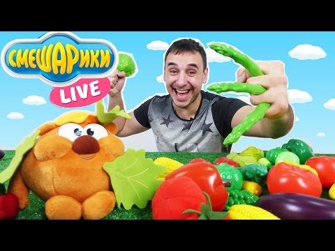 Видео для детей. Учим названия овощей. Копатыч и Папа Роб устроили овощную битву.