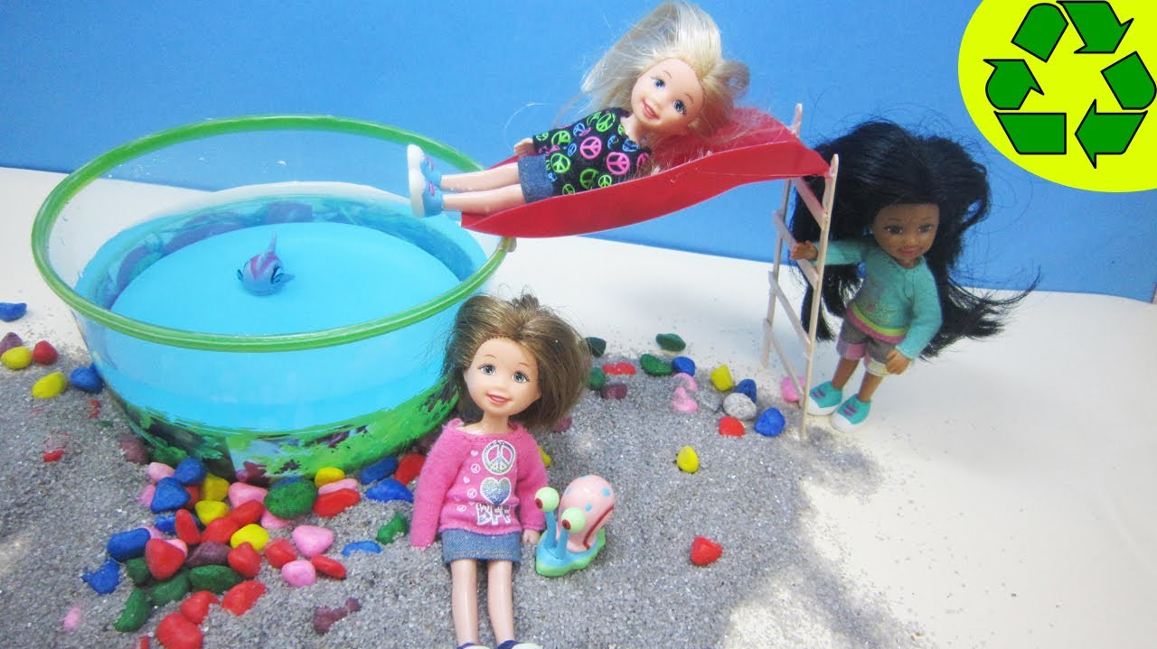 How to make a doll swimming pool with a slide recycling doll crafts youtube How to draw swimming pool water