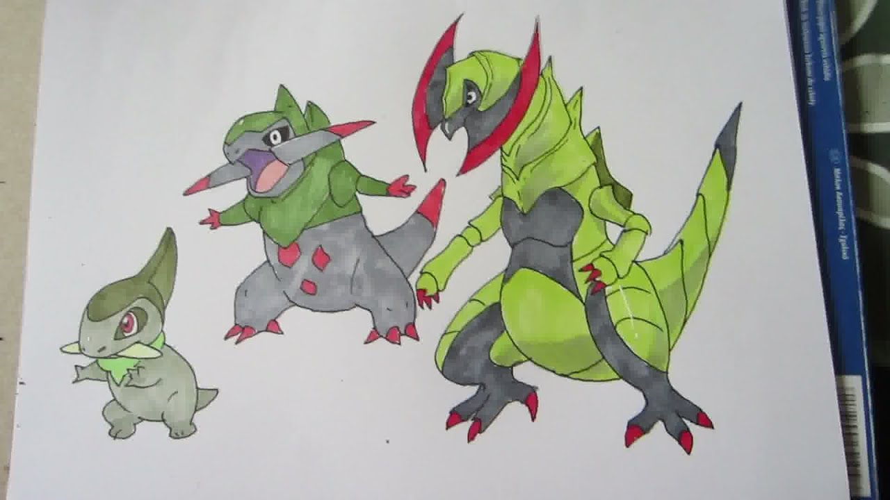 How to draw Pokemon: No.610 Axew, No.611 Fraxure, No.612 ...