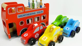 मज़ा लकड़ी की खिलौना कारों के साथ रंग और सामुदायिक वाहन नाम जानें!