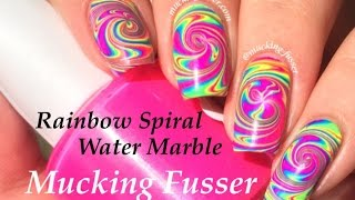 Rainbow Spiral Water Marble Nail Art Tutorial