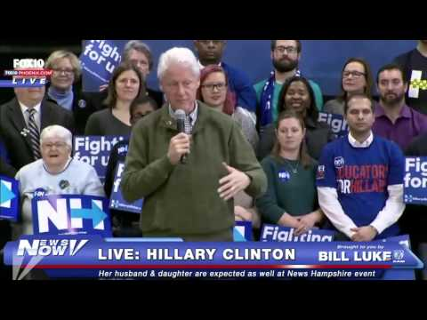 FNN: Bill Clinton and Chelsea Clinton Campaign for HIllary Day Before New Hampshire Primary