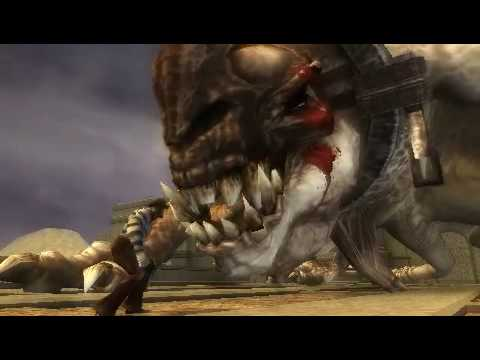 GOD OF WAR PSP-KRATOS VS BASILISCO (modo dios -mimo de guerra)