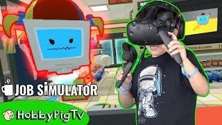 Virtual Reality Store Clerk! Job Simulator, Little Girl Gets Mad at HobbyPig? HobbyPigTV
