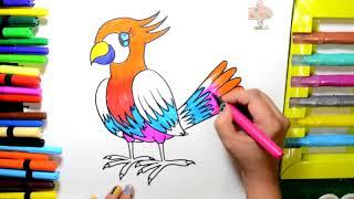 [Kênh Của Bé] Vẽ Màu Sơn Cầu Vồng Màu Trang Chim và Tìm Hiểu Màu Sắc cho Trẻ Em