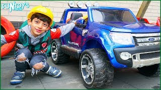 Jason Pretend Play Repairs his Toy Car Wheel Skit
