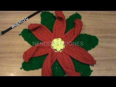 1 de 2 como tejer base hojas flor nochebuena carpeta - Como hacer flores de ganchillo ...