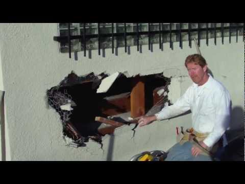 How To Repair A Hole In An Exterior Stucco Wall First Stucco Video Terrible Sound Sorry Youtube